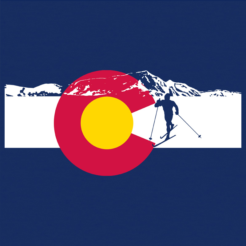 Cross Country Skiing Colorado Flag