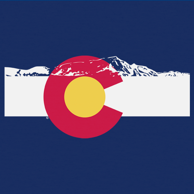 Mountains on Top of Colorado Flag